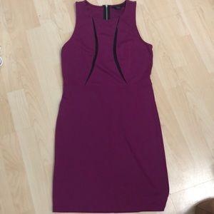 Mangenta and Black sleeveless dress